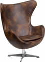 Bomber Jacket Leather Egg Chair with Tilt-Lock Mechanism [ZB-21-GG]
