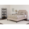 Brighton Tufted Upholstered Queen Size Platform Bed in Beige Fabric [SL-BK4-Q-B-GG]