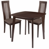 Bristol 3 Piece Espresso Wood Dining Table Set with Framed Rail Back Design Wood Dining Chairs - Padded Seats [ES-65-GG]