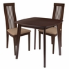 Bristol 3 Piece Walnut Wood Dining Table Set with Framed Rail Back Design Wood Dining Chairs - Padded Seats [ES-79-GG]