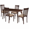 Bromley 5 Piece Espresso Wood Dining Table Set with Rail Back Wood Dining Chairs - Padded Seats [ES-13-GG]
