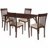 Bromley 5 Piece Walnut Wood Dining Table Set with Rail Back Wood Dining Chairs - Padded Seats [ES-27-GG]