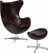 Brown Leather Egg Chair with Tilt-Lock Mechanism and Ottoman [ZB-11-CH-OT-GG]