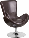 Egg Series Brown Leather Side Reception Chair [CH-162430-BN-LEA-GG]