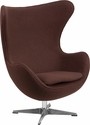 Brown Wool Fabric Egg Chair with Tilt-Lock Mechanism [ZB-13-GG]