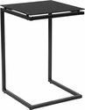 Burbank Black Glass End Table with Black Metal Frame [HG-112337-GG]