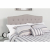 Cambridge Tufted Upholstered Queen Size Headboard in Light Gray Fabric [HG-HB1708-Q-LG-GG]