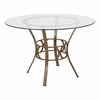Carlisle 45'' Round Glass Dining Table with Matte Gold Metal Frame [XU-TBG-2-GG]