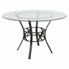 Carlisle 48'' Round Glass Dining Table with Black Metal Frame [XU-TBG-4-GG]