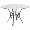 Carlisle 48'' Round Glass Dining Table with Matte Gold Metal Frame [XU-TBG-1-GG]