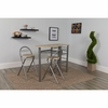 Carnegie 3 Piece Space-Saver Natural Finish Bistro Set with Wine Rack,Shelving and Folding Chairs [XM-JM-A0174-N-GG]