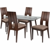 Carson 5 Piece Espresso Wood Dining Table Set with Glass Top and Curved Slat Keyhole Back Wood Dining Chairs - Padded Seats [ES-144-GG]