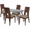 Carson 5 Piece Walnut Wood Dining Table Set with Glass Top and Curved Slat Keyhole Back Wood Dining Chairs - Padded Seats [ES-158-GG]