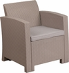 Charcoal Faux Rattan Chair with All-Weather Light Gray Cushion [DAD-SF2-1-GG]