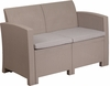 Charcoal Faux Rattan Loveseat with All-Weather Light Gray Cushions [DAD-SF2-2-GG]