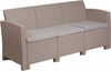 Charcoal Faux Rattan Sofa with All-Weather Light Gray Cushions [DAD-SF2-3-GG]
