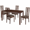Chatham 5 Piece Walnut Wood Dining Table Set with High Triple Window Pane Back Wood Dining Chairs - Padded Seats [ES-53-GG]