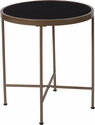 Chelsea Collection Black Glass End Table with Matte Gold Frame [NAN-JN-21751ET-GG]