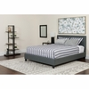 Chelsea Queen Size Upholstered Platform Bed in Dark Gray Fabric with Pocket Spring Mattress [HG-BM-15-GG]