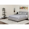 Chelsea Twin Size Upholstered Platform Bed in Light Gray Fabric [HG-9-GG]