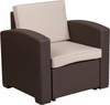 Chocolate Brown Faux Rattan Chair with All-Weather Beige Cushion [DAD-SF1-1-GG]