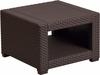 Chocolate Brown Faux Rattan End Table [DAD-SF1-S-GG]