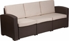 Chocolate Brown Faux Rattan Sofa with All-Weather Beige Cushions [DAD-SF1-3-GG]