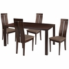 Clarke 5 Piece Espresso Wood Dining Table Set with Clean Line Wood Dining Chairs - Padded Seats [ES-35-GG]