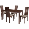 Clarke 5 Piece Walnut Wood Dining Table Set with Clean Line Wood Dining Chairs - Padded Seats [ES-49-GG]