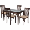 Clayton 5 Piece Espresso Wood Dining Table Set with Glass Top and Rail Back Wood Dining Chairs - Padded Seats [ES-97-GG]