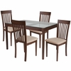 Clayton 5 Piece Walnut Wood Dining Table Set with Glass Top and Rail Back Wood Dining Chairs - Padded Seats [ES-111-GG]