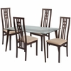 Clearview 5 Piece Espresso Wood Dining Table Set with Glass Top and High Triple Window Pane Back Wood Dining Chairs - Padded Seats [ES-123-GG]