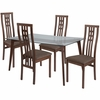 Clearview 5 Piece Walnut Wood Dining Table Set with Glass Top and High Triple Window Pane Back Wood Dining Chairs - Padded Seats [ES-137-GG]