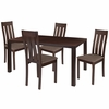 Clinton 5 Piece Espresso Wood Dining Table Set with Vertical Slat Back Wood Dining Chairs - Padded Seats [ES-42-GG]