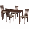 Clinton 5 Piece Walnut Wood Dining Table Set with Vertical Slat Back Wood Dining Chairs - Padded Seats [ES-56-GG]