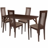 Clybourne 5 Piece Espresso Wood Dining Table Set with Framed Rail Back Design Wood Dining Chairs - Padded Seats [ES-9-GG]
