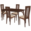 Clybourne 5 Piece Walnut Wood Dining Table Set with Framed Rail Back Design Wood Dining Chairs - Padded Seats [ES-23-GG]