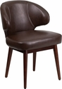 Comfort Back Series Brown Leather Side Reception Chair with Walnut Legs [BT-4-BN-GG]