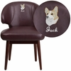 Embroidered Comfort Back Series Burgundy Leather Side Reception Chair with Walnut Legs [BT-3-BG-EMB-GG]