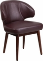 Comfort Back Series Burgundy Leather Side Reception Chair with Walnut Legs [BT-3-BG-GG]