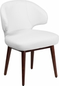 Comfort Back Series White Leather Side Reception Chair with Walnut Legs [BT-2-WH-GG]