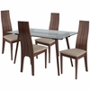 Concord 5 Piece Walnut Wood Dining Table Set with Glass Top and Padded Wood Dining Chairs [ES-162-GG]