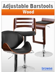 Contemporary Adjustable Height Wood Barstools