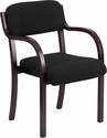 Contemporary Mahogany Wood Side Reception Chair with Arms and Black Fabric Seat [SD-2052A-MAH-GG]