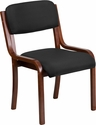 Contemporary Walnut Wood Side Reception Chair with Black Fabric Seat [UH-5071-BK-WAL-GG]