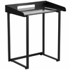 Contemporary Desk with Clear Tempered Glass and Black Frame [NAN-YLCD1233-GG]