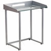 Contemporary Desk with Clear Tempered Glass and Silver Frame [NAN-YLCD1234-GG]