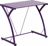 Contemporary Tempered Purple Glass Computer Desk with Matching Frame [NAN-WK-SD-02-PUR-GG]