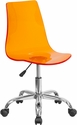 Contemporary Transparent Orange Acrylic Swivel Task Chair with Chrome Base [CH-98018-OR-GG]