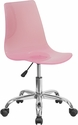 Contemporary Transparent Pink Acrylic Swivel Task Chair with Chrome Base [CH-98018-PK-GG]